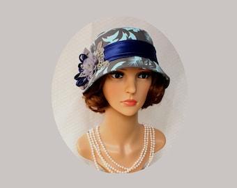 Cloche hat in grey, teal and dark blue, Great Gatsby hat, 1920s cloche hat, tea hat, Downton Abbey hat, Charleston hat, Roaring twenties hat