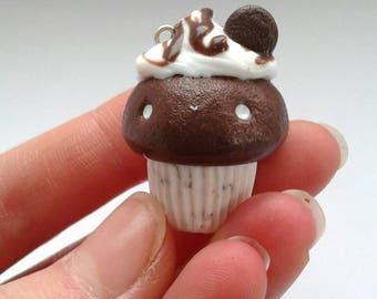 Polymer clay kawaii Oreo cupcake
