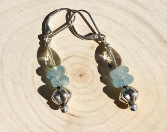 Aquamarine Quartz Earrings