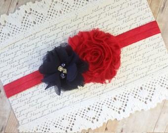 Red Baby Headband, Nautical Headband, Navy Blue Headband, Girls Hair Bands, Infant Headbands, Headbands For Baby, Girl Headband Baby, Bows