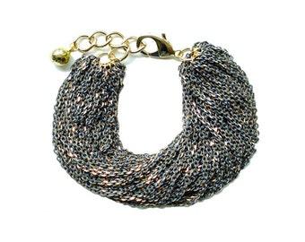 Multi Strand Chic Statement Chain Bracelet - Gray