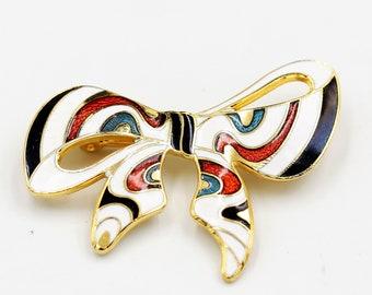 Cloisonne Bow Brooch Gold Tone Enamel Pin Multicolour Swirl Brooch 1980s