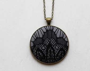 Art Deco Jewelry, Geometric Black Lace Pendant, Gray Goth Necklace