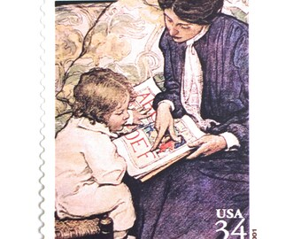 5 Vintage Mother and Child Stamps // Painting of Mother and Her Child // 34 Cent Postage Stamps for Mailing