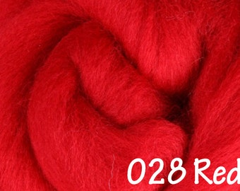 RED 10g NZ Ashford Corriedale Wool Top Silver Roving - Ship from USA