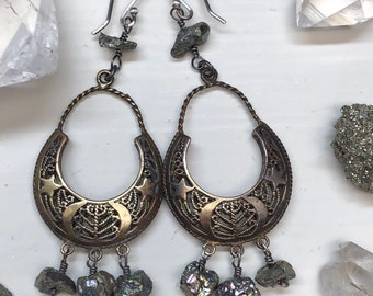 Pyrite Moon and Stars Chandelier Earrings