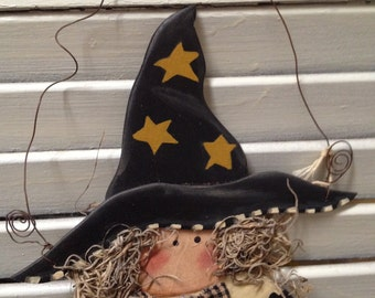 Primitive Witch Cupboard Sign/Ornament Hand Crafted and painted, Halloween or Fall Decor