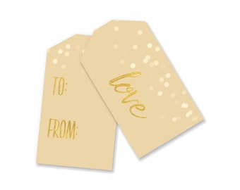 Gift Tags Printable | Rustic Christmas Gift Tags | Digital Hanukkah Gift Tags | INSTANT DOWNLOAD | Cream and Gold Holiday Decor Vintage