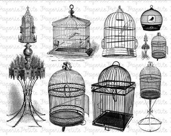 Vintage Birdcages Digital Download Collage Sheet