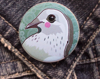 Bird Pin, White Pigeon Pin Round Badge, Bird Brooch, All Occasions Gift for Her, Handdrawn Bird Print, Fashion Accessory, Animal Pin Button