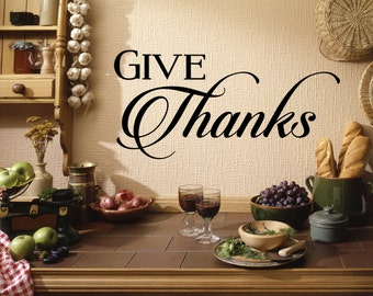 Give Thanks Wall Decal, Thanksgiving Wall Decal, Thanksgiving, Give Thanks, Fall, Autumn, Home Decor, Wall Decor, Party, Living Room, Decal