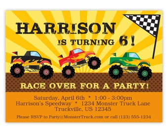 Monster Truck Invitation -  Yellow Orange Stripe, Red, Black Green Monster Truck Personalized Birthday Party Invite - Digital Printable File