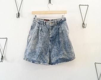 80's High Waist Acid Wash Shorts