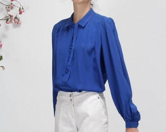 blue romantic preppy SHIRT / BLOUSE elegant classic style - puffy shoulder - size S