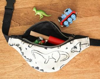 Dinosaur Toddler Fanny Pack, Bum Bag, Belt Satchel, Hip Purse, Block Printed