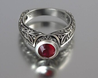 The COUNTESS 14K gold engagement Ruby ring (sizes 4 to 7) with diamonds