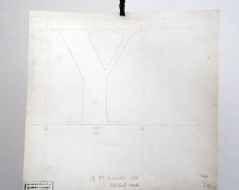 Letter Y, original font casting drawing, typographic drawing (the thumbnail cannot show the beauty of the drawing please view large). 1932.