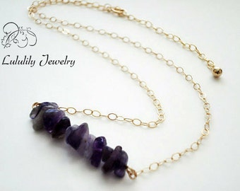 Amethyst Bar Necklace in 14kt Gold Fill, Amethyst Beaded Necklace, February Birthstone