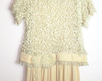 80s   Feathery Batwing Oversized Top w/Slip Dress