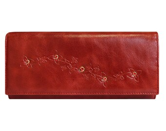 Leather red wallet, Beautiful red wallet, red wallet with flap, red flap wallet, chic red wallet, wallet with rivets, wallet with crystals
