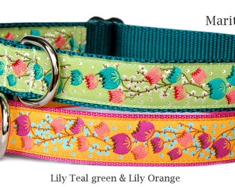 Cute dog collar Teal green or orange lily flower ribbon dog collar small dog collar large dog collar girl dog collar feminine pet collar