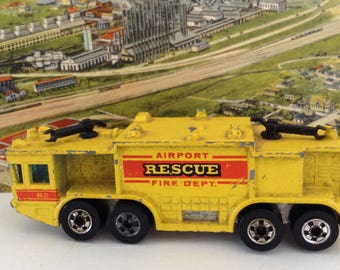 Gift for him - Hot Wheels - Airport Rescue Fire Department - Die Cast Truck - Made in Hong Hong - Collectible Pocket Car - Game Room Decor