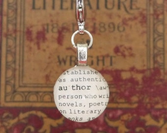 Author Dictionary Word Clip-on Charm Antique Vintage Look Gift by Kristin Victoria Designs