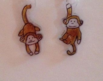 Handmade monkey earrings