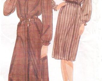 80s Calvin Klein Womens Classic Shirtdress Mandarin Collar Vogue Sewing Pattern 2595 Size 12 Bust 34 Vintage Vogue American Designer
