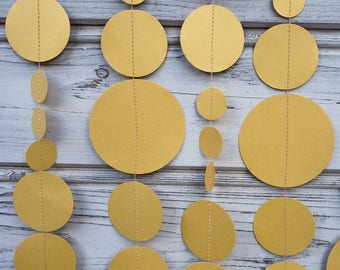 Gold paper garland, Gold party decoration, Gold baby shower, Bridal shower, Birthday garland, Gold photo backdrop, Gold christmas garland