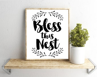 Printable Wall Art, Farmhouse Bless This Nest Quote, Home Decor, Instant Download