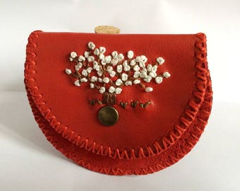 Life Tree Red Leather Coin Bag, Change Purse with Wax Linen, Handmade Wallet