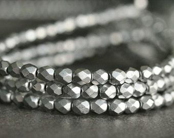 Matte Metallic Silver Czech Bead 4mm Faceted  Round : 50 Czech Glass  Beads