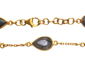 Gold Plated Tear Drop Labradorite Stone Bracelet