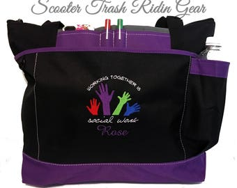 Free Shipping - Personalized Social Worker Tote Bag  - More Colors - monogrammed - New