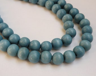 Light Steel Blue wood beads round 12mm full strand eco-friendly Cheesewood 9483NB