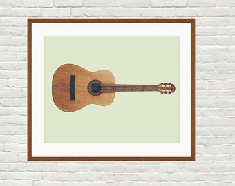 Vintage Acoustic Gutar in Color Full Side View, One Photo Print, Boys Room decor, Vintage Car Prints