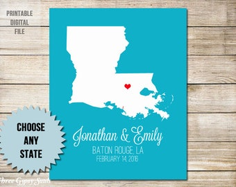 1st Anniversary Gift For Husband First  Anniversary Gift For Him Paper Anniversary Gift For Her Louisiana Wedding Gift