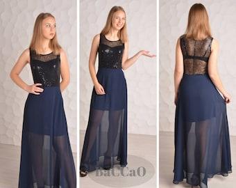 Navy  Blue Maxi dress/ Bridesmaid dress/  Navy blue bridal/ Evening dress/ Bridesmaid  dresses /Blue dress/ Sleeveless dress  / BaCCaO dress
