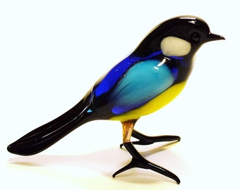 decorative art figurine, interior of the house, colored glass, designer bird tit Miromiro