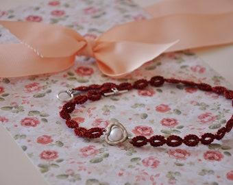 LACE BRACELET, heart sign bracelet, lace jewelry, tatting bracelet, handmade bracelet, handmade, lace, tatting, heart charm, charm bracelet