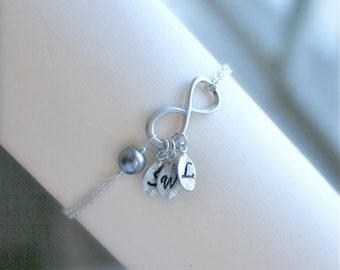 Infinity Bracelet Three Initials Personalized Infinity symbol Friendship Bracelet Infinity Initial Bracelet Love Bracelet Sterling Silver