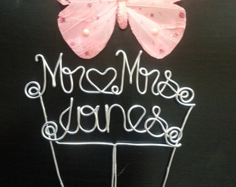 personalized wire cake topper,cake topper,we do sign, letters cake topper