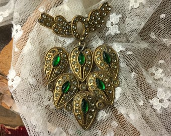 Enchanting Smooth Rhinestone Cabochon Gold Gilt Dangling Brooch Pin Unsigned 1920's 1930's Bow Green Rhinestones Leaf Teardrop Shaped
