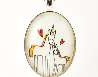 Gift For Mom, Unicorn Necklace, Mommy And Baby Unicorn Jewelry With Heart, Mother's Day Jewelry