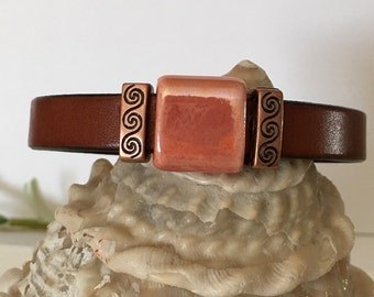 Bracelet-Leather Cuff-Thin-Flat Leather-Whiskey Brown-Metallic Terra Cotta Red Ceramic Focal Bead-Antiqued Copper-Greek Cast-Square-Magnetic