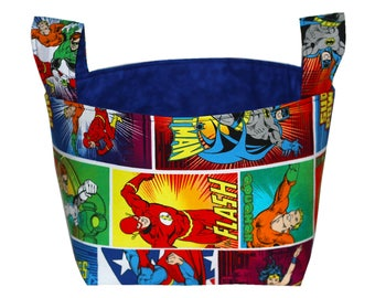 Fabric Storage Bin-DC Comics Storage Bin-Justice League Room Organizer-Desk Organizer-Fabric Basket-Wonder Woman Bin