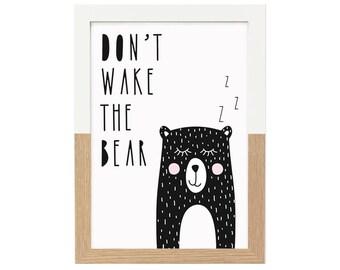Kids Room Print Don't Wake The Bear   Nursery Decor, Monochrome Nursery, Black and White Print, Animal Wall Art, Scandi Print, Nursery Print