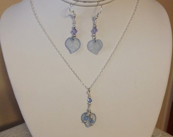 Dainty Blue  Dangle Leaf  Necklace and Earrings.