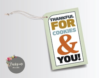 Cookies Thanksgiving Tag, Tags with String, Thanksgiving, Tags, Thanksgiving Decor, Paper Tags, Favor Tags, Tags, T022